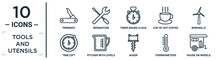 Tools.and.utensils Linear Icon Set. Includes Thin Line Penknife, Timer Round Clock, Windmills, Pitcher With Levels, Thermometers, House On Wheels, Time Left Icons For Report, Presentation, Diagram,