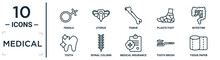 Medical Linear Icon Set. Includes Thin Line Female, Femur, Intestine, Spinal Column, Tooth Brush, Tissue Paper, Tooth Icons For Report, Presentation, Diagram, Web Design