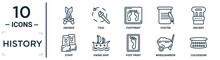 History Linear Icon Set. Includes Thin Line Swords, Footprint, Ancient, Viking Ship, Wheelbarrow, Colosseum, Staff Icons For Report, Presentation, Diagram, Web Design