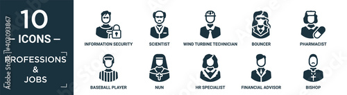 Canvas filled professions & jobs icon set
