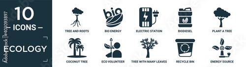 Fotografering filled ecology icon set