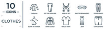 Clothes Linear Icon Set. Includes Thin Line Cardigan, Jewelry Set, Pegged Pants, Denim Jacket, Jean, Chino Shorts, Scarf On Hanger Icons For Report, Presentation, Diagram, Web Design