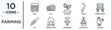 Farming Linear Icon Set. Includes Thin Line Stall, Planting, Garden Bench, Monoculture, Hanging Pot, Rooster, Oat Icons For Report, Presentation, Diagram, Web Design