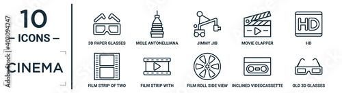 Photo cinema linear icon set