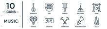 Music Linear Icon Set. Includes Thin Line Mandolin, Cabasa, Gong, Cassette, Music Spotlight, Cello, Maraca Icons For Report, Presentation, Diagram, Web Design