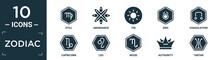 Filled Zodiac Icon Set. Contain Flat Still, Abundance, Tin, Zinc, Coagulation, Capricorn, Leo, Wood, Authority, Tartar Icons In Editable Format..