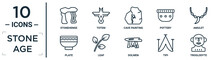 Stone.age Linear Icon Set. Includes Thin Line Stonehenge, Cave Painting, Amulet, Leaf, Tipi, Troglodyte, Plate Icons For Report, Presentation, Diagram, Web Design