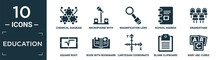 Filled Education Icon Set. Contain Flat Chemical Diagram, Microphone With Stand, Magnification Lens, School Agenda, Grandstand, Square Root, Book With Bookmark, Cartesian Coordinate System, Blank.