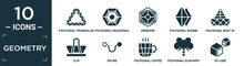 Filled Geometry Icon Set. Contain Flat Polygonal Triangular Recycle, Polygonal Hexagonal, Ennegon, Polygonal Rhomb, Boat Of Small Triangles, Clip, Spline, Coffee Cup, Elephant, 3d Cube Icons In.