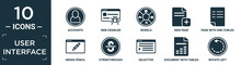 Filled User Interface Icon Set. Contain Flat Accounts, Web Crawler, Wheels, New Page, Page With One Curled Corner, Gross Pencil, Strikethrough, Selective, Document With Tables, Rotate Left Icons In.