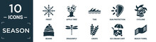 Filled Season Icon Set. Contain Flat Frost, Apple Tree, Tide, Sun Protection, Cyclone, Beanie, Dragonfly, Crops, Ice Cream Cart, Beach Towel Icons In Editable Format..