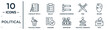 political linear icon set. includes thin line checklist with a pencil, candidates ranking graphic, welder, checking, political candidate speech, vote, political speech icons for report,
