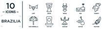 Brazilia Linear Icon Set. Includes Thin Line Lent, Bikini, Parrot, Top Hat, Guitar, Feather, Sun Umbrella Icons For Report, Presentation, Diagram, Web Design