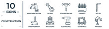 Construction Linear Icon Set. Includes Thin Line Adjustment System, Pickaxes Drilling, Hex Key, Big Building, Crane Truck, Progress, Sweeping Broom Icons For Report, Presentation, Diagram, Web