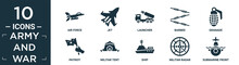 Filled Army And War Icon Set. Contain Flat Air Force, Jet, Launcher, Barbed, Granade, Patriot, Militar Tent, Ship, Militar Radar, Submarine Front View Icons In Editable Format..