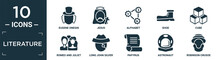 Filled Literature Icon Set. Contain Flat Eugene Onegin, Jesus, Alphabet, Shoe, Cube, Romeo And Juliet, Long John Silver, Papyrus, Astronaut, Robinson Crusoe Icons In Editable Format..