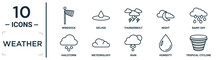 Weather Linear Icon Set. Includes Thin Line Windsock, Thunderbolt, Rainy Day, Meteorology, Humidity, Tropical Cyclone, Hailstorm Icons For Report, Presentation, Diagram, Web Design