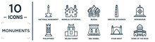 Monuments Linear Icon Set. Includes Thin Line National Monument Monas, Russia, Borobudur, Belem Tower, Stari Most, Dome Of The Rock, Philippines Icons For Report, Presentation, Diagram, Web Design