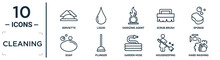 Cleaning Linear Icon Set. Includes Thin Line Serviette, Oxidizing Agent, Sponge, Plunger, Housekeeping, Hand Washing, Soap Icons For Report, Presentation, Diagram, Web Design