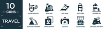Filled Travel Icon Set. Contain Flat Diving Goggles, Road Map, Map Book, Suitcases, Water Slide, Egyptian Pyramids, Unfolded Map, Baby Bag, Backpacker, Unfolded With Location Mark Icons In Editable.