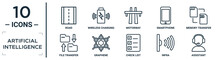 Artificial.intelligence Linear Icon Set. Includes Thin Line Road, Motorway, Memory Transfer, Graphene, Infra, Assistant, File Transfer Icons For Report, Presentation, Diagram, Web Design