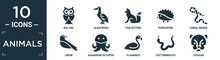 Filled Animals Icon Set. Contain Flat Big Owl, Albatross, Fox Sitting, Porcupine, Coral Snake, Crow, Aquarium Octopus, Flamingo, Cottonmouth, Cougar Icons In Editable Format..