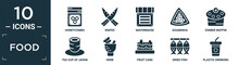 Filled Food Icon Set. Contain Flat Honeycombs, Knifes, Mayonnaise, Goiabinha, Zombie Muffin, Tea Cup Of Japan, Herb, Fruit Cake, Dried Fish, Plastic Drinking Cup Icons In Editable Format..