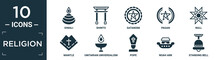 Filled Religion Icon Set. Contain Flat Diwali, Shinto, Satanism, Pagan, Null, Mantle, Unitarian Universalism, Pope, Noah Ark, Standing Bell Icons In Editable Format..