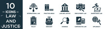 Filled Law And Justice Icon Set. Contain Flat International Law, Practise Areas, Law And Justice, Employment Law, Inheritance Policy, Innocent, Evidence, Corporative Diplomacy Icons In Editable.