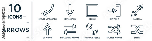 Fotografia, Obraz arrows linear icon set