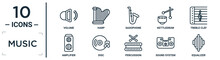 Music Linear Icon Set. Includes Thin Line Volume, Saxophone, Treble Clef, Disc, Sound System, Equalizer, Amplifier Icons For Report, Presentation, Diagram, Web Design