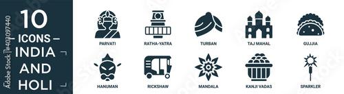 Fotografie, Obraz filled india and holi icon set
