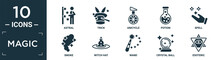 Filled Magic Icon Set. Contain Flat Astral, Trick, Unicycle, Potion, Spell, Smoke, Witch Hat, Wand, Crystal Ball, Esoteric Icons In Editable Format..