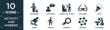 Filled Activity And Hobbies Icon Set. Contain Flat Beatboxing, Questioning, Mineral Collecting, 3d Glasses, Party, Skiing, Jogging, Checkers, Modeling, Lace Making Icons In Editable Format..