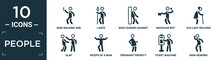 Filled People Icon Set. Contain Flat Man Walking And Smoking, Lance, Man Leaning Against The Wall, Magician Boy, Old Lady Walking, Slap, Biceps Of A Man, Pregnant Priority, Ticket Machine, Hearing.
