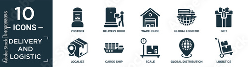Canvas Print filled delivery and logistic icon set