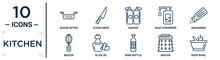 Kitchen Linear Icon Set. Includes Thin Line Sugar Sifter, Sauces, Seasoning, Olive Oil, Grater, Soup Bowl, Beater Icons For Report, Presentation, Diagram, Web Design