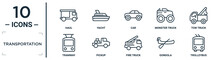 Transportation Linear Icon Set. Includes Thin Line Haul, Car, Tow Truck, Pickup, Gondola, Trolleybus, Tramway Icons For Report, Presentation, Diagram, Web Design