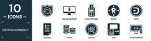 Filled Cryptocurrency Icon Set. Contain Flat , Online Banking, Cash Machine, Rupee, Dash, Invoice, Funds, Circuit, Atm, Programming Icons In Editable Format..