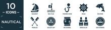Filled Nautical Icon Set. Contain Flat Sailboat, Sea Flag, Fishing Hook, Helm, Dolphin, Paddles, Sailor Cap, Big Barrel, Binocular, Sun Shining Icons In Editable Format..
