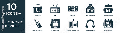 Tela filled electronic devices icon set
