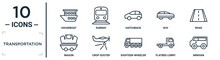 Transportation Linear Icon Set. Includes Thin Line Houseboat, Hatchback, Road, Crop Duster, Flatbed Lorry, Minivan, Wagon Icons For Report, Presentation, Diagram, Web Design