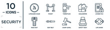 Security Linear Icon Set. Includes Thin Line Lifeguard Chair, Turnstiles, Locked File, Seat Belt, Safety Seat, Life Saver, Race Suit Icons For Report, Presentation, Diagram, Web Design