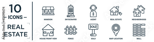 real.estate linear icon set. includes thin line mansion, agent, neighborhood, fence, map location, wall, house front view icons for report, presentation, diagram, web design - fototapety na wymiar