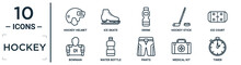 Hockey Linear Icon Set. Includes Thin Line Hockey Helmet, Drink, Ice Court, Water Bottle, Medical Kit, Timer, Bowman Icons For Report, Presentation, Diagram, Web Design
