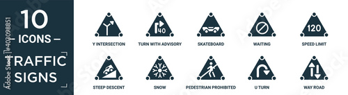 filled traffic signs icon set Wallpaper Mural