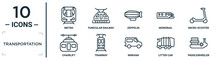 Transportation Linear Icon Set. Includes Thin Line Metro, Zeppelin, Micro Scooter, Tramway, Litter Car, Paddlewheeler, Chairlift Icons For Report, Presentation, Diagram, Web Design
