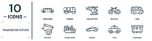 Transportation Linear Icon Set. Includes Thin Line Limousine, Helicopter, Van, Cargo Ship, Taxi, Caboose, Oxcart Icons For Report, Presentation, Diagram, Web Design
