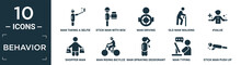 Filled Behavior Icon Set. Contain Flat Man Taking A Selfie, Stick Man With Box, Man Driving, Old Walking, #value, Shopper Riding Bicylce, Spraying Deodorant, Typing, Stick Push Up Icons In Editable.