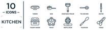 Kitchen Linear Icon Set. Includes Thin Line Tureen, Vegetable Peeler, Zester, Trivet, Teaspoon, Tongs, Yogurt Maker Icons For Report, Presentation, Diagram, Web Design
